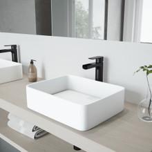 VIGO VGT947 Jasmine Matte Stone Vessel Bathroom Sink Set With Amada Faucet In Matte Black