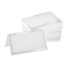 Alpine 493-01-SIL Place Cards with Silver Border 2'' x 3.5'' - Pack of 100