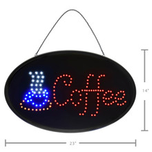 "Alpine 497-05 LED Coffee Sign, Oval, 23"" x 14"" with Flashing or Steady Feature - Black"