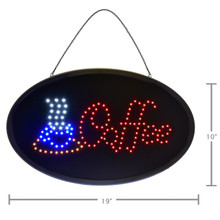 "Alpine 497-06 LED Coffee Sign, Oval, 19"" x 10"" with Flashing or Steady Feature - Black"