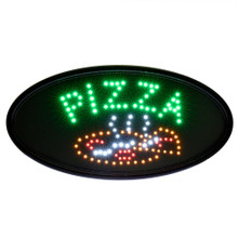 "Alpine 497-07 LED Pizza Sign, Oval, 23"" x 14"" with Flashing or Steady Feature - Black"