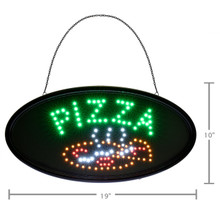 "Alpine 497-08 LED Pizza Sign, Oval, 19"" x 10"" with Flashing or Steady Feature - Black"