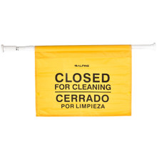 "Alpine 498-HAN Yellow Safety 30""  Hanging Sign with Words CLOSED"