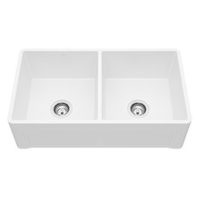 "VIGO VGRA3318BLSL 33"" Casement Front Matte Stone Double Bowl Farmhouse Kitchen Sink"