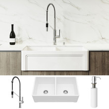 """VIGO VG15803 All-In-One 33"""" Casement Front Matte Stone Double Bowl Farmhouse Apron Kitchen Sink Set With Livingston Faucet In Chrome, Two Strainers And Soap Dispenser"""