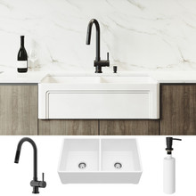 """VIGO VG15805 All-In-One 33"""" Casement Front Matte Stone Double Bowl Farmhouse Apron Kitchen Sink Set With Gramercy Faucet In Matte Black, Two Strainers And Soap Dispenser"""