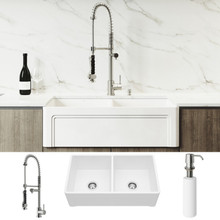 """VIGO VG15806 All-In-One 33"""" Casement Front Matte Stone Double Bowl Farmhouse Apron Kitchen Sink Set With Zurich Faucet In Stainless Steel, Two Strainers And Soap Dispenser"""