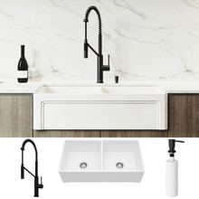 """VIGO VG15811 All-In-One 36"""" Casement Front Matte Stone Double Bowl Farmhouse Apron Kitchen Sink Set With Livingston Faucet In Matte Black, Two Strainers And Soap Dispenser"""