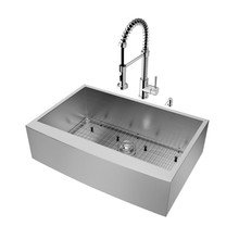 """VIGO VG15002 All-In-One 33"""" Camden Stainless Steel Farmhouse Kitchen Sink Set With Edison Faucet In Chrome, Grid, Strainer And Soap Dispenser"""