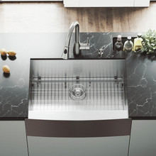 """VIGO VG15006 All-In-One 30"""" Camden Stainless Steel Farmhouse Kitchen Sink Set With Aylesbury Faucet In Stainless Steel, Grid, Strainer And Soap Dispenser"""