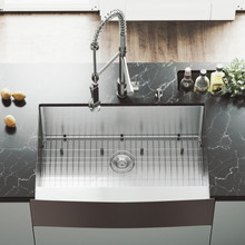 """VIGO VG15087 All-In-One 33"""" Bedford Stainless Steel Farmhouse Kitchen Sink Set With Zurich Faucet In Stainless Steel, Grid, Strainer And Soap Dispenser"""