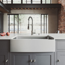 """VIGO VG15203 All-In-One 33"""" Bedford Stainless Steel Farmhouse Kitchen Sink Set With Brant Faucet In Stainless Steel, Grid, Strainer And Soap Dispenser"""