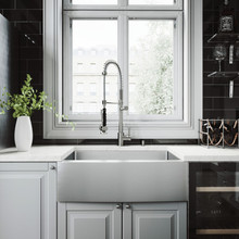 """VIGO VG15275 All-In-One 30"""" Bedford Stainless Steel Farmhouse Kitchen Sink Set With Zurich Faucet In Stainless Steel, Grid, Strainer And Soap Dispenser"""