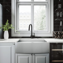 """VIGO VG15372 All-In-One 30"""" Camden Stainless Steel Farmhouse Kitchen Sink Set With Gramercy Faucet In Matte Black, Grid, Strainer And Soap Dispenser"""