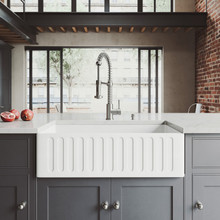"""VIGO VG15456 All-In-One 33"""" Matte Stone Farmhouse Kitchen Sink Set With Edison Faucet In Stainless Steel, Strainer And Soap Dispenser"""