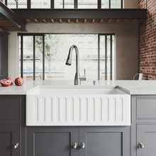 """VIGO VG15458 All-In-One 33"""" Matte Stone Farmhouse Kitchen Sink Set With Aylesbury Faucet In Stainless Steel, Strainer And Soap Dispenser"""