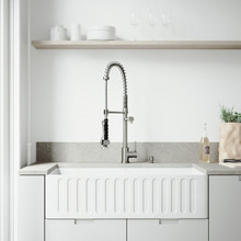"""VIGO VG15462 All-In-One 36"""" Matte Stone Farmhouse Kitchen Sink Set With Zurich Faucet In Stainless Steel, Strainer And Soap Dispenser"""