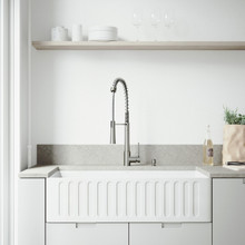 """VIGO VG15463 All-In-One 36"""" Matte Stone Farmhouse Kitchen Sink Set With Laurelton Faucet In Stainless Steel, Strainer And Soap Dispenser"""