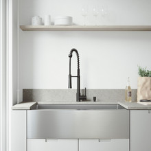"""VIGO VG15478 All-In-One 36"""" Bedford Stainless Steel Farmhouse Kitchen Sink Set With Laurelton Faucet In Matte Black, Grid, Strainer And Soap Dispenser"""