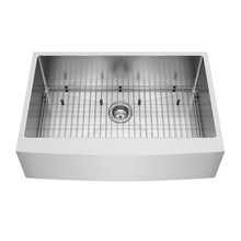 "VIGO VGR3320CK1 33"" Bedford Stainless Steel Farmhouse Kitchen Sink, With Grid And Strainer"