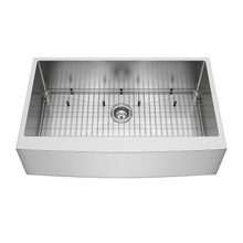 "VIGO VGR3620CK1 36"" Bedford Stainless Steel Farmhouse Kitchen Sink, With Grid And Strainer"