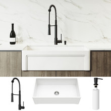 "VIGO VG15787 All-In-One 33"" Casement Front Matte Stone Farmhouse Apron Kitchen Sink Set With Laurelton Faucet In Matte Black, Strainer And Soap Dispenser"
