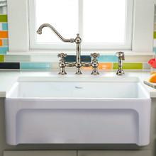 "Whitehaus WHQ5530-WHITE Glencove Fireclay 30"" Reversible Sink with Elegant Beveled Apron Front on one side Decorative 2"" Lip Plain on Opposite Side"