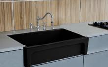 "Whitehaus WHQ5530-BLACK Glencove Fireclay 30"" Reversible Sink with Elegant Beveled Apron Front on one side Decorative 2"" Lip Plain on Opposite Side"