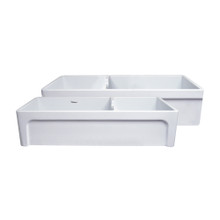 "Whitehaus WHQDB5542-WHITE Glencove Fireclay 42"" Large Double Bowl Reversible Sink with Elegant Beveled Apron Front on One Side and Decorative Lip on the Opposite Side"