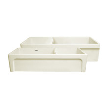 "Whitehaus WHQDB5542-BISCUIT Glencove Fireclay 42"" Large Double Bowl Reversible Sink with Elegant Beveled Apron Front on One Side and Decorative Lip on the Opposite Side"