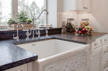 "Whitehaus WHSIV3333-WHITE Glencove St. Ives 33"" Apron Front Fireclay Sink  with Intricate Vine Design on one side & Elegant Beveled Front on Opposite Side"