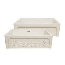 "Whitehaus WHSIV3333-BISCUIT Glencove St. Ives 33"" Apron Front Fireclay Sink  with Intricate Vine Design on one side & Elegant Beveled Front on Opposite Side"