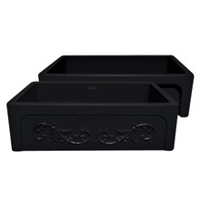 "Whitehaus WHSIV3333-BLACK Glencove St. Ives 33"" Apron Front Fireclay Sink  with Intricate Vine Design on one side & Elegant Beveled Front on Opposite Side"