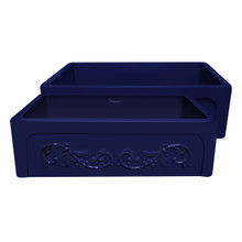 "Whitehaus WHSIV3333-BLUE Glencove St. Ives 33"" Apron Front Fireclay Sink  with Intricate Vine Design on one side & Elegant Beveled Front on Opposite Side"