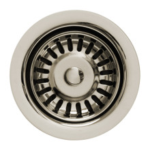 """Whitehaus WH202-PN 3 1/2"""" Waste Disposer Sink Flange and Basket Strainer for Deep Fireclay Sinks - Polished Nickel"""