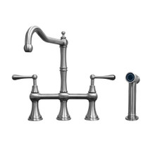 Whitehaus WHSB14007-SK-BSS Waterhaus Bridge Kitchen Faucet with Traditional Spout, Lever Handles and Side Spray - Brushed Stainless Steel