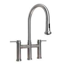 Whitehaus WHS6900-PDK-BSS Waterhaus Bridge Kitchen Faucet with a Gooseneck Swivel Spout, Pull Down Spray Head, Lever Handles - Brushed Stainless Steel