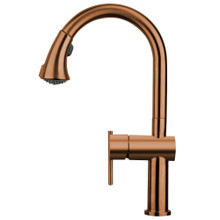 Whitehaus WHS1971-SK-CO Waterhaus Kitchen Faucet with Gooseneck Swivel Spout, Pull Down Spray Head,  Lever Handle - Copper