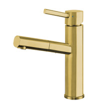 Whitehaus WHS1394-PSK-B Waterhaus Stainless Steel, Single Hole, Single Lever Kitchen Faucet with Pull-out Spray Head - Brass