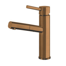 Whitehaus WHS1394-PSK-CO Waterhaus Stainless Steel, Single Hole, Single Lever Kitchen Faucet with Pull-out Spray Head - Copper