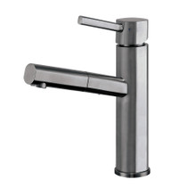 Whitehaus WHS1394-PSK-GM Waterhaus Stainless Steel, Single Hole, Single Lever Kitchen Faucet with Pull-out Spray Head - Gunmetal