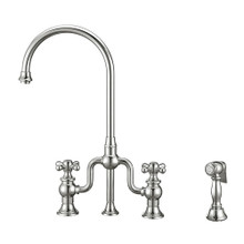 Whitehaus WHTTSCR3-9773-NT-C Twisthaus Plus Bridge Kitchen Faucet with Gooseneck Swivel Spout, Cross Handles and Brass Side Spray - Polished Chrome
