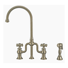 Whitehaus WHTTSCR3-9773-NT-BN Twisthaus Plus Bridge Kitchen Faucet with Gooseneck Swivel Spout, Cross Handles and Brass Side Spray - Brushed Nickel