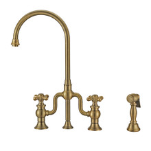 Whitehaus WHTTSCR3-9773-NT-AB Twisthaus Plus Bridge Kitchen Faucet with Gooseneck Swivel Spout, Cross Handles and Brass Side Spray - Antique Brass