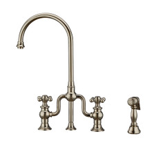 Whitehaus WHTTSCR3-9773-NT-PN Twisthaus Plus Bridge Kitchen Faucet with Gooseneck Swivel Spout, Cross Handles and Brass Side Spray - Polished Nickel