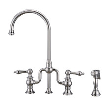 Whitehaus WHTTSLV3-9773-NT-C Twisthaus Plus Bridge Kitchen Faucet with Gooseneck Swivel Spout, Lever Handles and Brass Side Spray - Polished Chrome