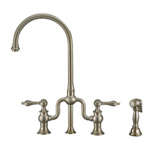 Whitehaus WHTTSLV3-9773-NT-BN Twisthaus Plus Bridge Kitchen Faucet with Gooseneck Swivel Spout, Lever Handles and Brass Side Spray - Brushed Nickel