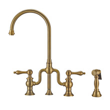Whitehaus WHTTSLV3-9773-NT-AB Twisthaus Plus Bridge Kitchen Faucet with Gooseneck Swivel Spout, Lever Handles and Brass Side Spray - Antique Brass
