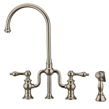 Whitehaus WHTTSLV3-9773-NT-PN Twisthaus Plus Bridge Kitchen Faucet with Gooseneck Swivel Spout, Lever Handles and Brass Side Spray - Polished Nickel