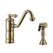Whitehaus WHKTSL3-2200-NT-AB Vintage III Plus Single Lever Kitchen Faucet with Traditional Swivel Spout and Brass Side Spray - Antique Brass